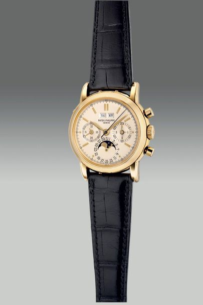 Patek Philippe A fine and rare yellow gold perpetual calendar chronograph wristw…