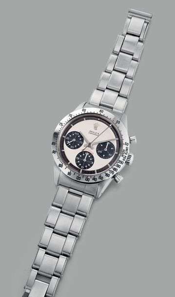 "Rolex A very rare and fine stainless steel chronograph wristwatch with ""Paul New…"