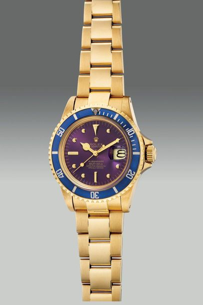 Rolex A very attractive and rare yellow gold diver's wristwatch with center seco…