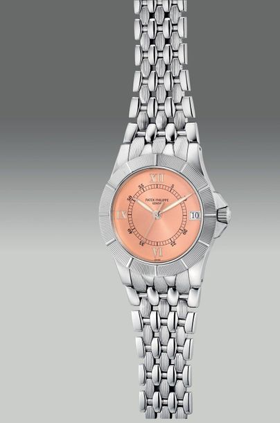 Patek Philippe A fine and attractive stainless steel wristwatch with date, cente…