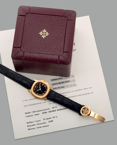 Patek Philippe A fine and attractive yellow gold wristwatch with date, center se…