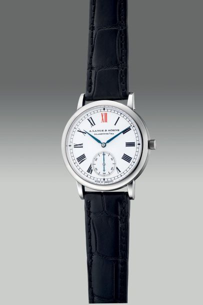 A. Lange & Söhne A very fine and rare limited edition platinum wristwatch with s…