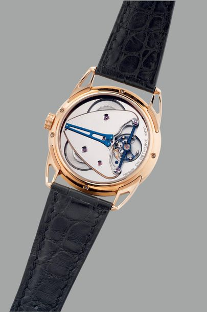 "De Bethune A unique, well preserved pink gold wristwatch with silvered ""guilloch…"