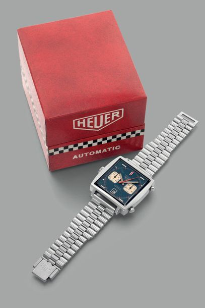 Heuer A fine and rare stainless steel square shaped chronograph wristwatch with …
