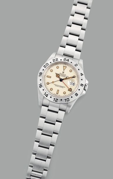 Rolex An attractive and rare stainless steel wristwatch with 'ivory' dial, 24 ho…