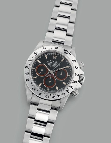 Rolex A fine, well preserved and rare stainless steel chronograph wristwatch wit…