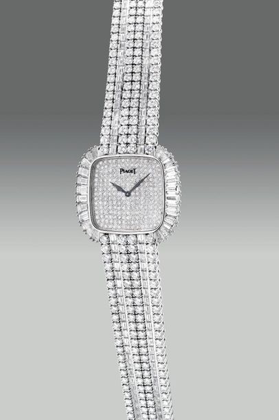 Piaget A fine and extravagant square shaped white gold and diamond set wristwatc…