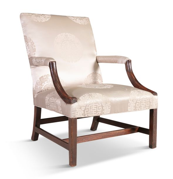 A GEORGIAN MAHOGANY FRAMED UPHOLSTERED OPEN ARMCHAIR, the rectangular panel back…