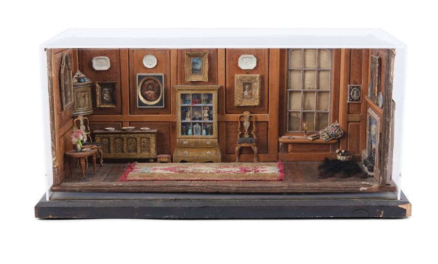 A SET OF FOUR PERSPEX CASED DIORAMA, each modelled period interiors of 18th and …