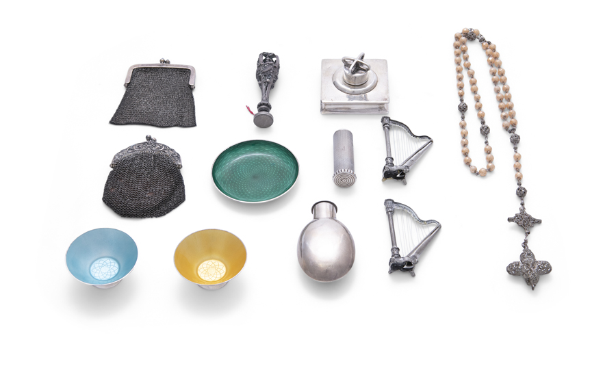 A MISCELLEANEOUS COLLECTION OF SILVER ITEMS, comprising: a pair of Danish enamel…