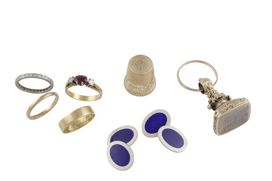 A GROUP OF JEWELLERY, comprising a pair of 9k gold cufflinks with blue enamel; A…