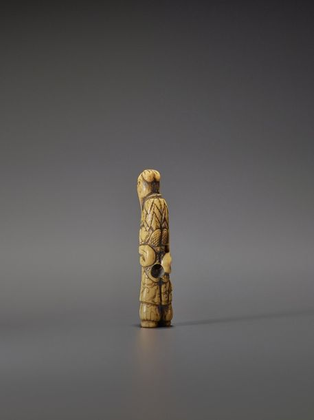 A RARE IVORY NETSUKE OF A SENNIN WITH MONKEY Unsigned Japan, early to mid 18th c…