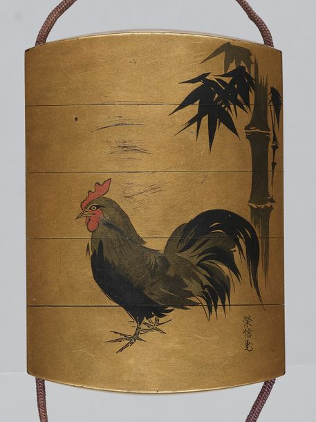 A FOUR CASE LACQUER INRO WITH COCKEREL AND LACQUER MANJU NETSUKE By Tokosai Masa…