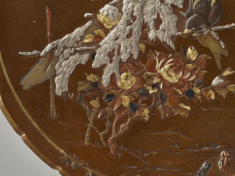INOUE: A LARGE BRONZE DISH By Inoue of Kyoto, signed Kyoto Inoue sei and sealed …