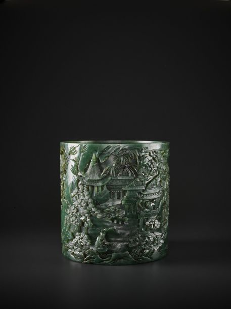 A LARGE AND RETICULATED SPINACH JADE BRUSHPOT, BITONG, QIANLONG PERIOD China, 17…