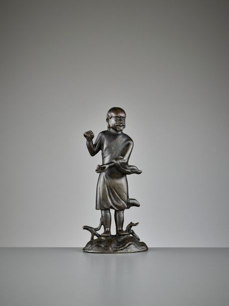 DAMO CROSSING THE YANGTZE, BRONZE STATUE, LATE MING TO EARLY QING China, 17th ce…