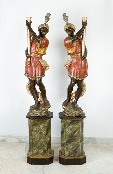 Pair of Venetian Torcheres, with two standing orientals on octagonal bases, wood…
