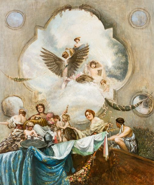 Greek School 19th Century, Allegory with Pegasus and others; oil on canvas, mono…