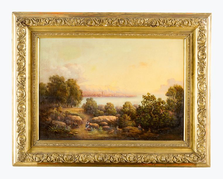Greek School 19th Century, Shepherds in landscape by the sea, a town in the dist…