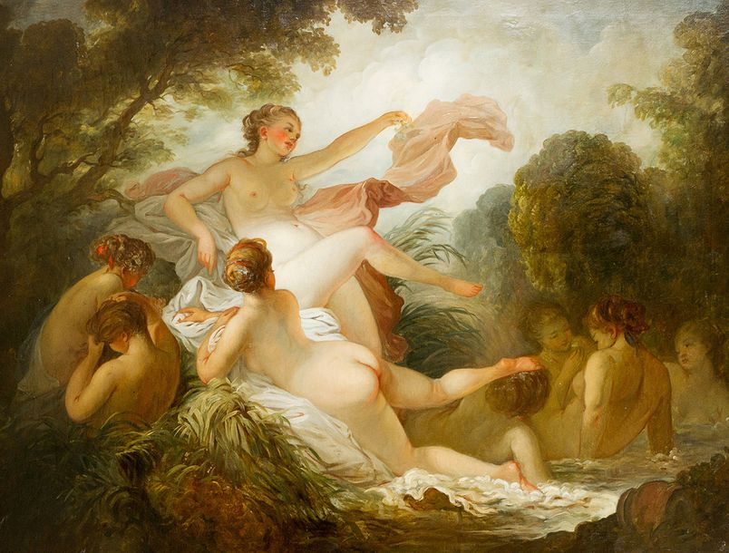 French School 18th Century, Nymphs by the water in landscape; oil on canvas, fra…