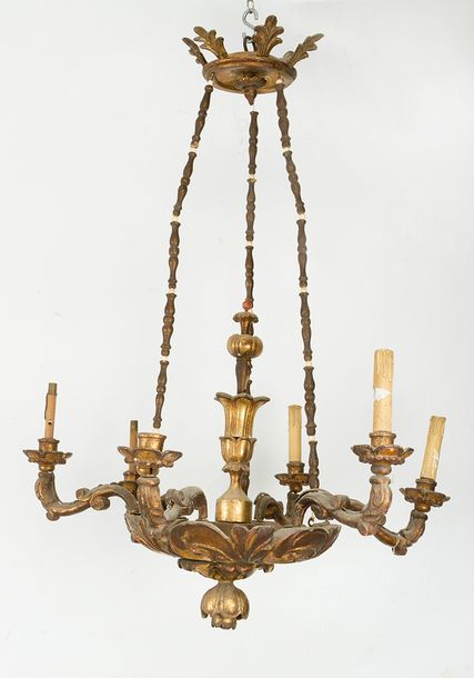 Biedermeier Chandelier with six branches and lights, mounted on bowl with chains…