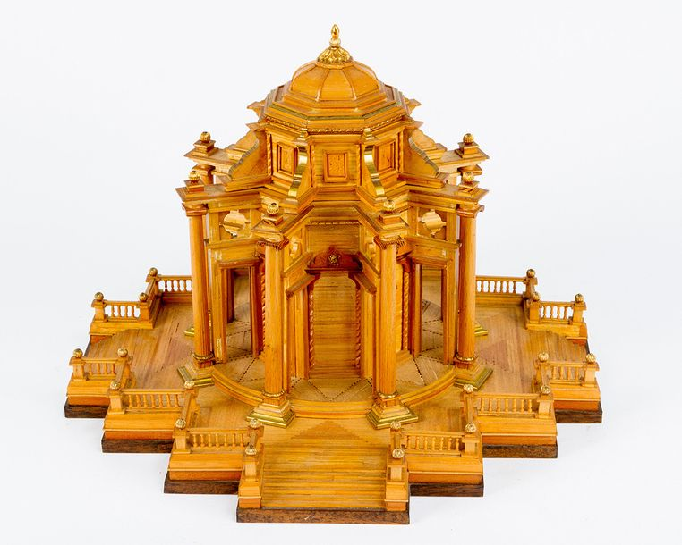 Architectural model of a baroque garden pavilion; wood carved and gilded parts; …