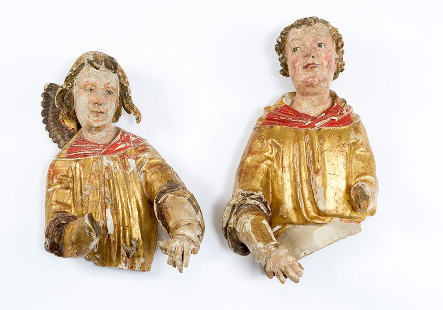 Saint Laurentius and Stephanus, or winged angles, two wooden carved sculptures, …