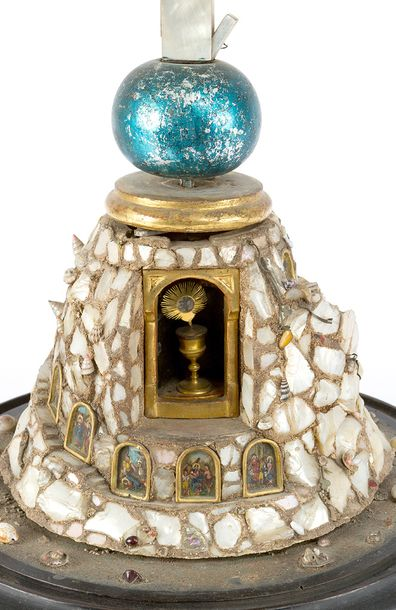 Reliquary, Calvary Mountain decorated with mother of pearl, snails and mussels; …