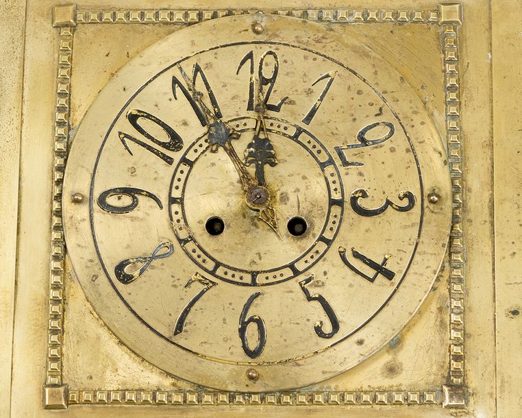 Jugendstil Wall Clock, bronze polished, with Arabic numbers, two fingers and win…
