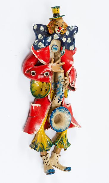 Clown Sculpture, sculpted terracotta with naturalistic colours, glazed; on the r…