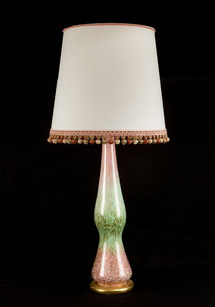 Venetian table lamp with glass stand in cylindrical bowed shape, in red, green a…