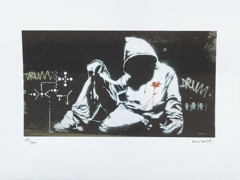 Banksy Graphic, Drum, on paper, numbered 23/300, and with paper mark Arts Editio…