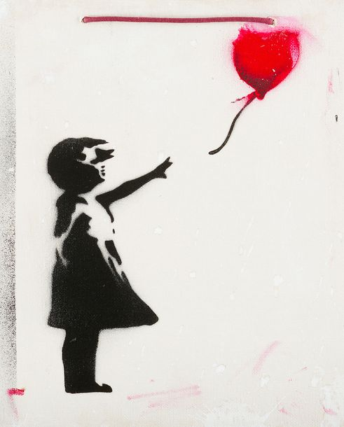 Banksy 20th Century, Girl with balloon; different techniques on board; on the re…