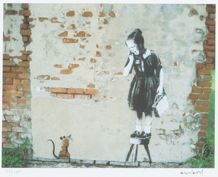 Banksy graphic, Girl with mouse, on paper, numbered 47/150, framed, in passepart…