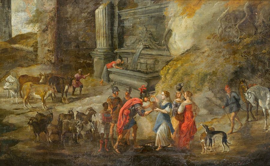 Flemish school around 1700, Rebecca and Eliezer at the Well; oil on canvas; in F…