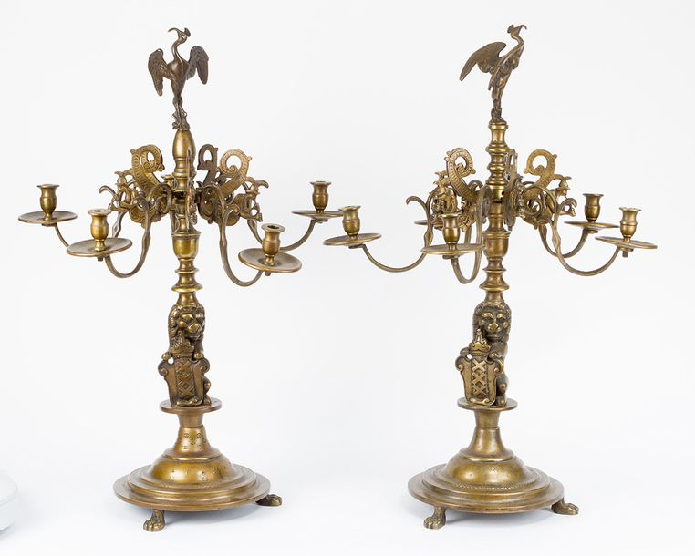 Pair of Flemish Candelabras, each with five brunches and lights, round base with…