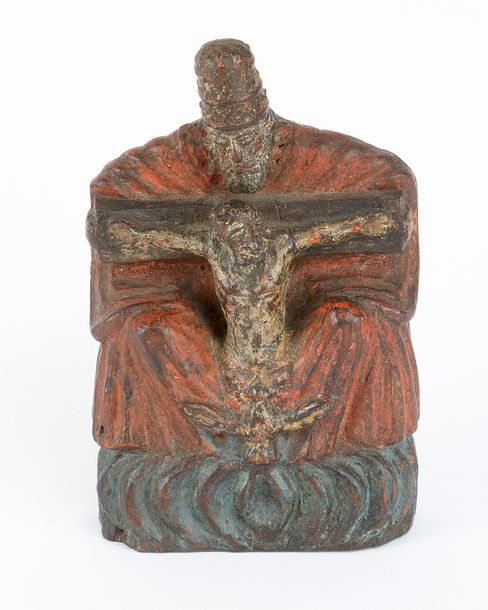 Holy Trinity, wooden carved sculpture with original colours, Austrian 18th Centu…