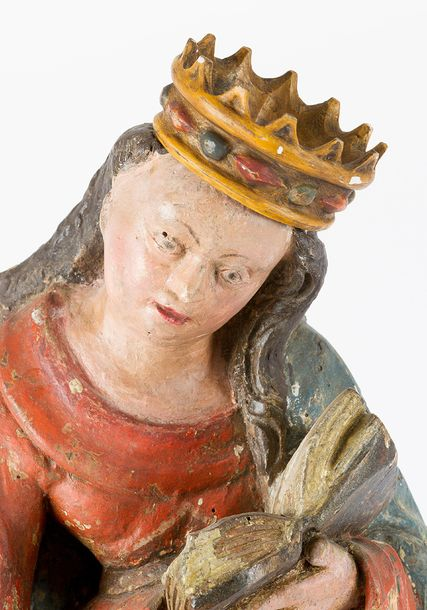 Saint Catherine of Alexandria, wood carved sculpture with book and sword, folded…