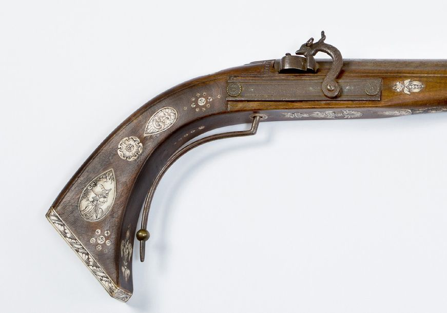 Saxonian rifle, with iron barrel; lock system and trigger in wooden shaft with I…