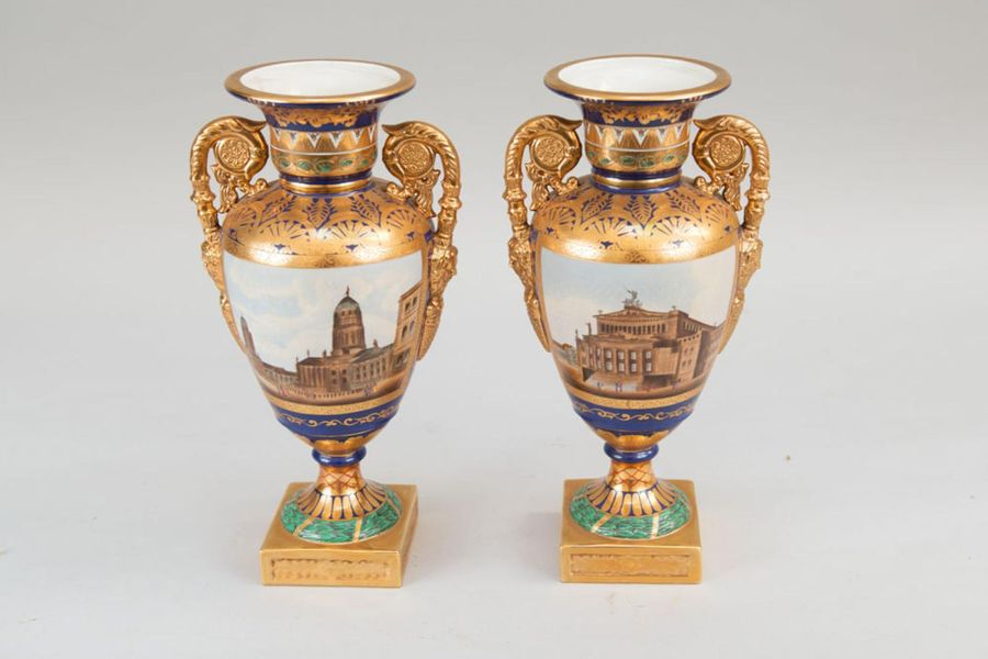 Pair of Berlin vases Pair of Berlin vases, porcelain, in Amphora shape, with two…