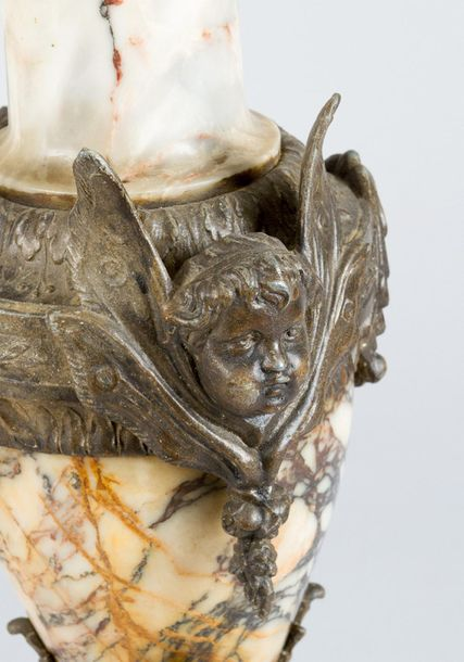 Pair of marble vases Pair of marble vases, with central column and round bowed b…