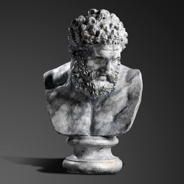 Interior Design/Decoration: After the Antique: A plaster bust of Hercules modern…