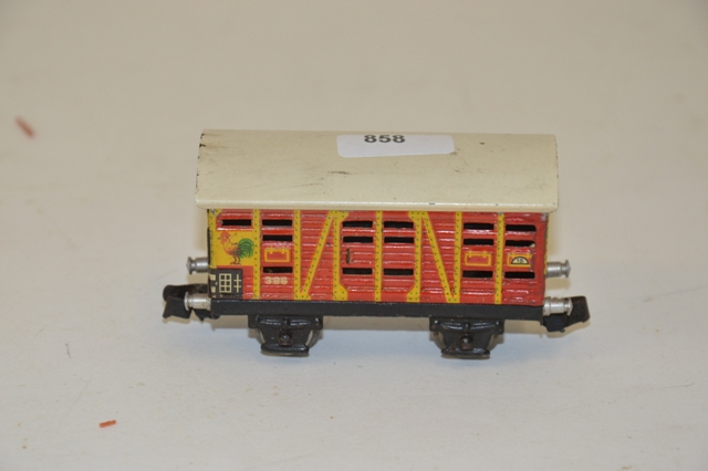 MÄRKLIN 386/1ere version, wagon transport de volaille, en jaune et rouge, bel ét…