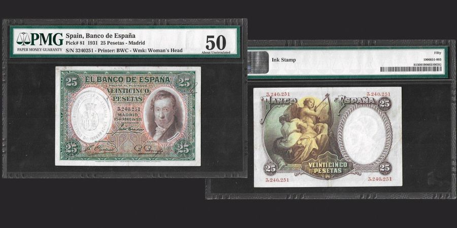 Banknotes Banco de Espana 50 Pesetas, 1931 Madrid Ref : Pick#81 Conservcation : …