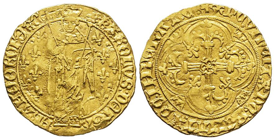 France Charles VII le Victorieux 1422 1461 Royal d'or, Chinon, AU 3.76 g. Ref : …
