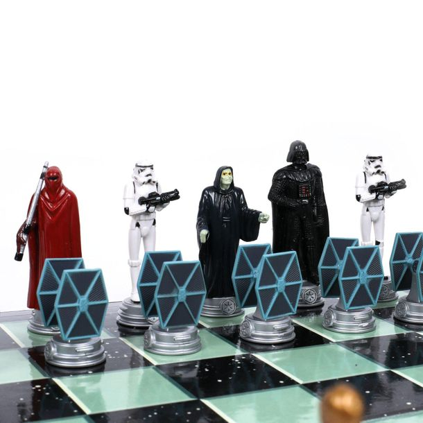 Star Wars themed chess game, coloured plastic, 34 × 49 cm