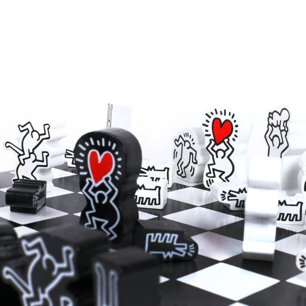 Chess game illustrated by Keith Haring, limited edition, wood painted, 31 × 31 c…