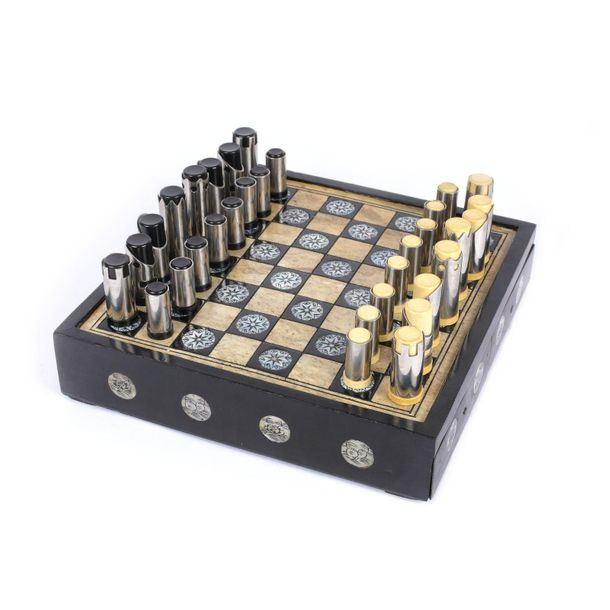 Chess game decorated with engraved mother of pearl and ebony wood, from Spain, e…