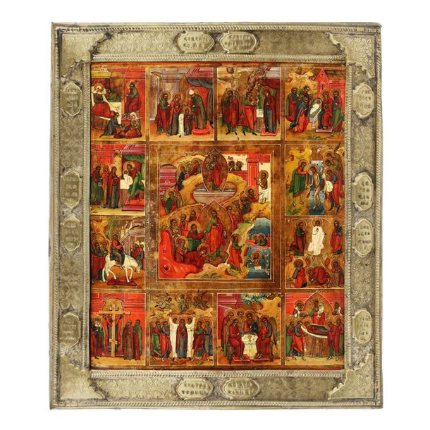 """""""The Resurrection of the Lord and 12 scenes"""", Russian school (Palekh), early 19t…"""