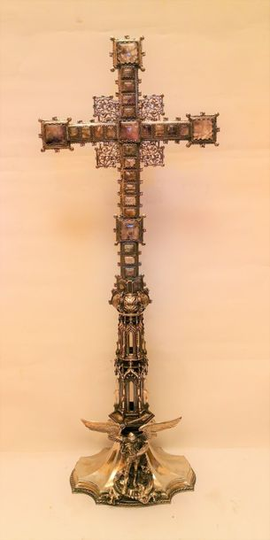"""MANIFATTURA INGLESE 1904 1905 CROIX D'ARGENT ANGLAISE """"Croce d'argento con ameti…"""